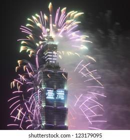 TAIPEI, TAIWAN - JANUARY 1: Fireworks on the famous Taipei 101 skyscraper celebrate the coming of new year 2013 on January 1, 2013 in Taipei, Taiwan.