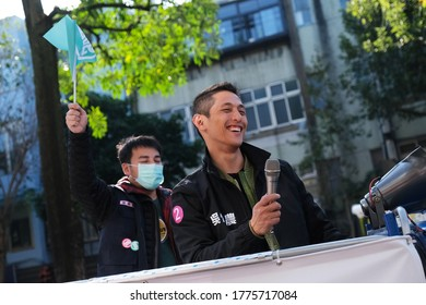 Taipei, Taiwan - January 10, 2020:Democratic Progressive Party legislative candidate Enoch Wu meeting supporters at his electoral district a day before the election.