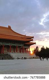 Taipei, Taiwan - January 3, 2015: National Theater is a performing arts venue at The National Chiang Kai-shek Memorial Hall, Taipei, Taiwan