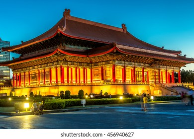 Taipei, Taiwan - July 10th 2016 - Details of the Chiang Kai-shek Memorial Hall in late afternoon in Taipei in Taiwan, Asia