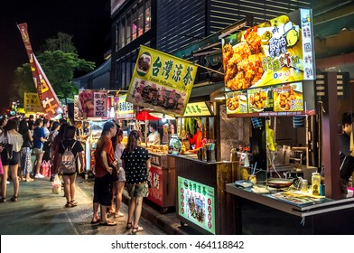 Taipei, Taiwan - July 12th 2016 - Locals and tourists enjoying the street market of Taipei downtown in Taiwan, Asia