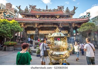 Taipei, Taiwan - July 12th 2016 - The temple of Longshan in downtown Taipei in Taiwaan