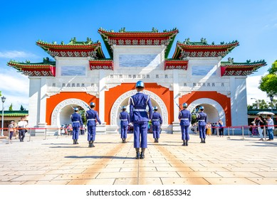 Taipei, Taiwan - July 16, 2017: Changing of the guards at the national revolutionary martyrs' shrine, taipei, taiwan