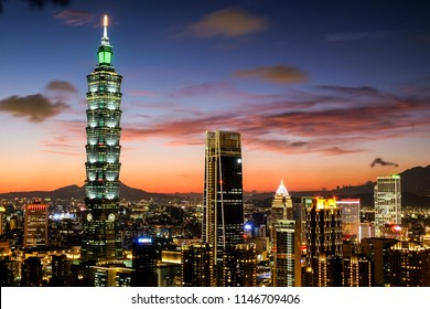 TAIPEI, TAIWAN - July 19,2018: Modern office buildings in the Xinyi District including Taipei 101 July 19, 2018 in Taipei, Taiwan. Taipei 101 is currently the world's 2nd tallest skyscraper.
