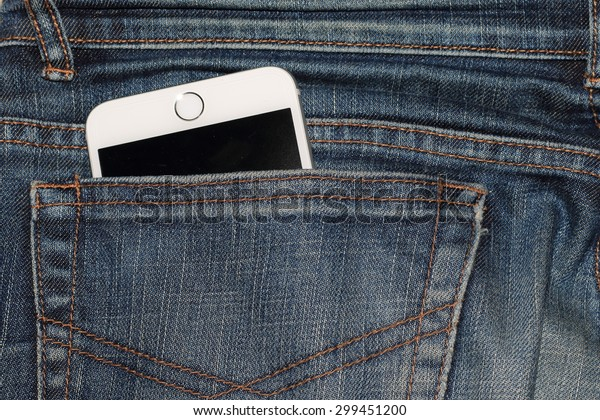 Taipei, Taiwan - July 24, 2015: Apple iPhone 6 Plus, Space Gray, in a jeans pocket.