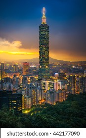 Taipei, Taiwan - July 28, 2015 : The amazing scene of Taipei 101 building and Taipei city during sunset. The photo has been taken from the top of Elephant Mountain, Taipei.