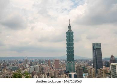 Taipei, Taiwan / July 28, 2019 - Downtown view of 101 Taipei building at Taipei, Taiwan