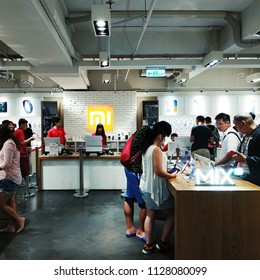 Taipei, Taiwan - July 4th, 2018 : Xiaomi shop in Taipei. Located on Songjiang Road near Xingtian Temple MRT station