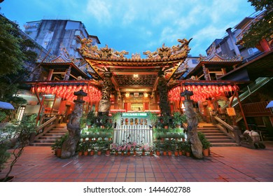 Taipei, Taiwan - July 5, 2019 : Taipei Tianhou Temple is one of the oldest temple in Ximending, Taipei