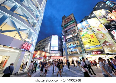 TAIPEI, TAIWAN - July 5, 2019: Crowds in Ximending District, Taipei, Taiwan. The district is a center of fashion culture and movie center for young people