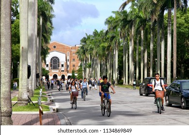 Taipei / Taiwan - Jun. 8, 2018: The students ride bike on the Royal Palm Blvd. with the background of the main library in National Taiwan University.