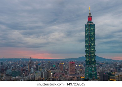 TAIPEI , TAIWAN - JUNE 03 : The scene of Taipei 101 building and Taipei city Taiwan on June 03 2019. The photo has been taken from the top of Elephant Mountain, Taipei.