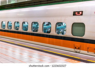 TAIPEI -TAIWAN, June 19 2018: Taiwan High Speed Rail Taipei Station platform June 19 2018 in Taipei, Taiwan's high speed railway has become the most important transportation