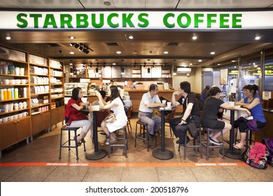 TAIPEI, TAIWAN, JUNE 23, 2014: Starbucks inside a shopping mall, in Taipei, Taiwan, June 23, 2014. There are more and more people enjoying coffee here in Taiwan