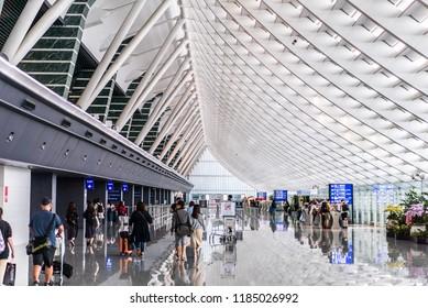 TAIPEI, TAIWAN - June 24 2018: Taiwan Taoyuan International Airport.