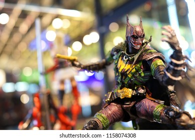 TAIPEI, TAIWAN - JUNE 25, 2018: Batman turning into Jocker action figure on store shelf in Ximending Shopping Mall, Taipei. DC Comics is one of the largest and oldest American comic book companies.