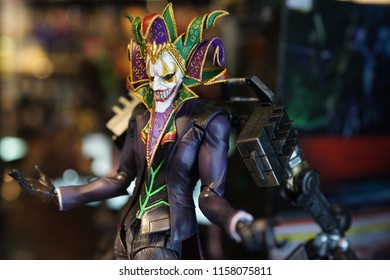 TAIPEI, TAIWAN - JUNE 25, 2018: Jocker DC Multiverse Series action figure on store shelf in Ximending Shopping Mall, Taipei. DC Comics is one of the largest and oldest American comic book companies.