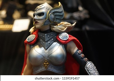 TAIPEI, TAIWAN - JUNE 25, 2018: Close up of Thor Girl figures on display shelf in Ximending shopping Mall. The Avengers are a fictional team of superheroes appearing in American comic books by Marvel.