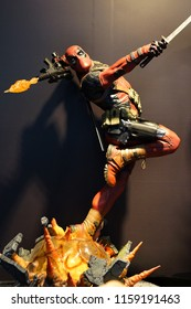 TAIPEI, TAIWAN - JUNE 25, 2018: Close up of Deadpool figures on display shelf in Ximending Mall. Deadpool is a American superhero film based on the Marvel Comics character of the same name.