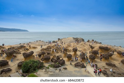 "Taipei, Taiwan- June 26, 2017 -Natural landscape in Yehliu Geopark, New Taipei City, Taiwan. Here is home to unique geological formations including the iconic ""Queen's Head""."
