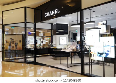 TAIPEI, TAIWAN - JUNE 26, 2018: Chanel brand perfume store in Taipei 101 shopping mall. Cosmetics are the most accessible Chanel product, with counters in upmarket department stores across the world.