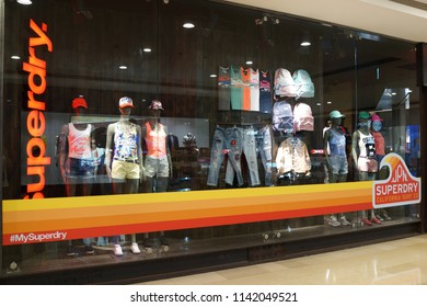 TAIPEI, TAIWAN - JUNE 26, 2018: Exterior view of Superdry fashion store in Taipei 101 shopping mall. Superdry products combine vintage Americana styling with Japanese inspired.
