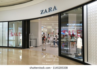 TAIPEI, TAIWAN - JUNE 26, 2018: ZARA fashion store in Taipei 101 shopping mall, Taiwan. Zara is a Galician fast fashion clothing and accessories retailer based in Spain.