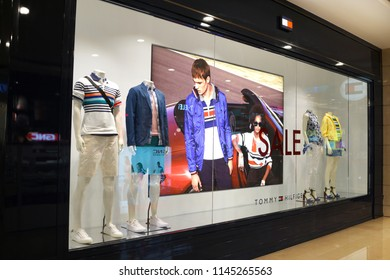 TAIPEI, TAIWAN - JUNE 26, 2018: Exterior view of Tommy Hilfiger store in Taipei 101 Shopping Mall, Taiwan. Tommy Hilfiger corporation is an American clothing company.