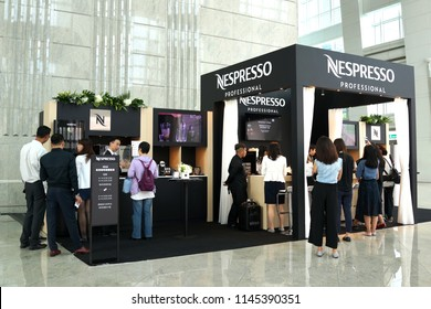 TAIPEI, TAIWAN - JUNE 26, 2018: Nespresso Showcase Store in Taipei 101 Mall, Taiwan. Nespresso Machines Brew Espresso and Coffee from Coffee Capsules or Pods in Machines for Home or Professional Use.