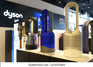 TAIPEI, TAIWAN - JUNE 26, 2018: Dyson store in Syntrend shopping mall, Taipei. Dyson is a British technology company designs and manufactures household appliances such as vacuum cleaners and dryers.
