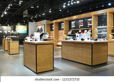 TAIPEI, TAIWAN - JUNE 26, 2018: Canon store in Syntrend shopping mall, Taipei. Canon is a Japanese multinational corporation headquartered in Tokyo, Japan specializing in optics and imaging products.