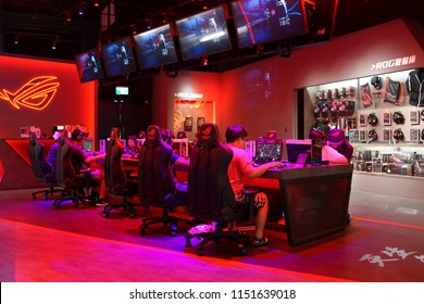 TAIPEI, TAIWAN - JUNE 26, 2018: Republic of Gamers (ROG) store in Syntrend shopping mall, Taipei. It is a PC gaming brand used by Asus since 2006.