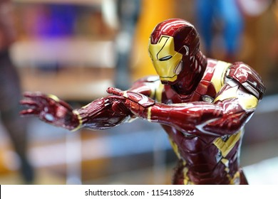 TAIPEI, TAIWAN - JUNE 26, 2018: Close up of Iron Man figures on display shelf in Ximending shopping Mall. The Avengers are a fictional team of superheroes appearing in American comic books by Marvel.