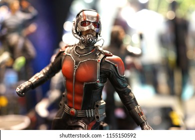 TAIPEI, TAIWAN - JUNE 26, 2018: Close up of Ant-Man figures on display shelf in Ximending shopping Mall. The Avengers are a fictional team of superheroes appearing in American comic books by Marvel.