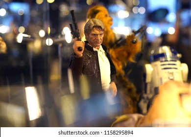 TAIPEI, TAIWAN - JUNE 26, 2018: Close up of Han Solo fictional character figures in Ximending Mall, Taipei. Han is a pilot from the planet Corellia, and the captain of the Millennium Falcon.