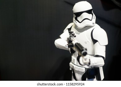 TAIPEI, TAIWAN - JUNE 26, 2018: Star Wars Stormtrooper figures on display shelf in Ximending Mall, Taipei. Star Wars is an American epic space opera franchise, film series created by George Lucas.