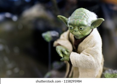 TAIPEI, TAIWAN - JUNE 26, 2018: Master Yoda fictional character figures in Ximending Mall, Taipei. Yoda serves as the Grand Master of the Jedi Order and as a high-ranking general of Clone Troopers.