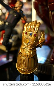 TAIPEI, TAIWAN - JUNE 26, 2018: Thanos infinity gauntlet in Avengers movie display on store shelf, Taipei. Thanos is a fictional supervillain appearing in American comic books published by Marv