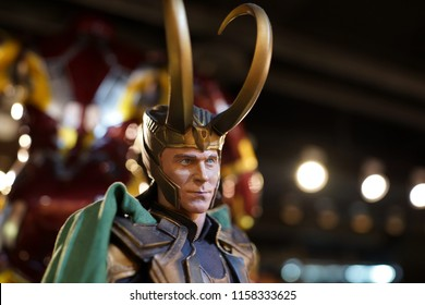 TAIPEI, TAIWAN - JUNE 26, 2018: Close up of Loki figures on display shelf in Ximending shopping Mall. The Avengers are a fictional team of superheroes appearing in American comic books by Marvel.