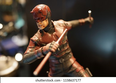 TAIPEI, TAIWAN - JUNE 26, 2018: Close up of Daredevil figures on display shelf in Ximending shopping Mall. The Avengers are a fictional team of superheroes appearing in American comic books by Marvel.