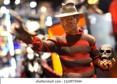 TAIPEI, TAIWAN - JUNE 26, 2018: Close up of Freddy Krueger figures on display shelf in Ximending shopping Mall. Freddy Krueger is a character from the A Nightmare on Elm Street film series.
