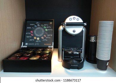TAIPEI, TAIWAN - JUNE 26, 2018: New Nespresso Coffee Machine set in Taipei 101 Mall. Nespresso Machines Brew Espresso and Coffee from Coffee Capsules or Pods in Machines for Home or Professional Use.