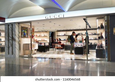 TAIPEI, TAIWAN - JUNE 27, 2018 : Gucci store at Taoyuan International Airport, Taiwan. Gucci is an Italian luxury brand of fashion and leather goods.