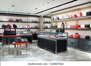 TAIPEI, TAIWAN - JUNE 27, 2018 : Interior view of Gucci store at Taoyuan International Airport, Taiwan. Gucci is an Italian luxury brand of fashion and leather goods.