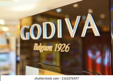 TAIPEI, TAIWAN - JUNE 27, 2018 : GODIVA Chocolate sign in Taoyuan International Airport, Taiwan. GODIVA Chocolatier is a Belgian manufacturer of premium fine chocolates and related products.