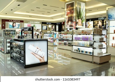 TAIPEI, TAIWAN - JUNE 27, 2018 : Various brand cosmetic store in Taoyuan Airport. Cosmetics are the most accessible product, with counters in upmarket department stores across the world.