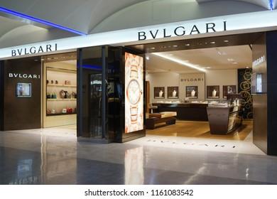 4702c93095415 TAIPEI, TAIWAN - JUNE 27, 2018 : Bvlgari fashion store in Taoyuan  International Airport
