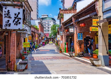TAIPEI, TAIWAN - JUNE 29: This is Shenkeng old street a famous old street which features old Chinese arhcitecture and tradititonal shops and restaurants on June 29, 2017 in Taipei