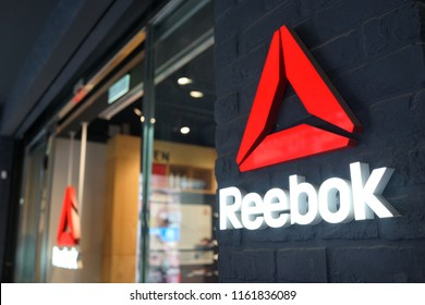 TAIPEI, TAIWAN - JUNE27, 2018: Reebok store sign at Ximending shopping street, Taiwan. Reebok is a global athletic footwear and apparel company, operating as a subsidiary of German sportsgiant Adidas.