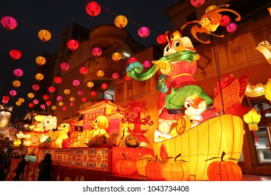 Taipei / Taiwan - March 1, 2018 People celebrating the Lantern Festival (Chinese Valentine's Day). Paper made big lanterns were set in public place as decoration.